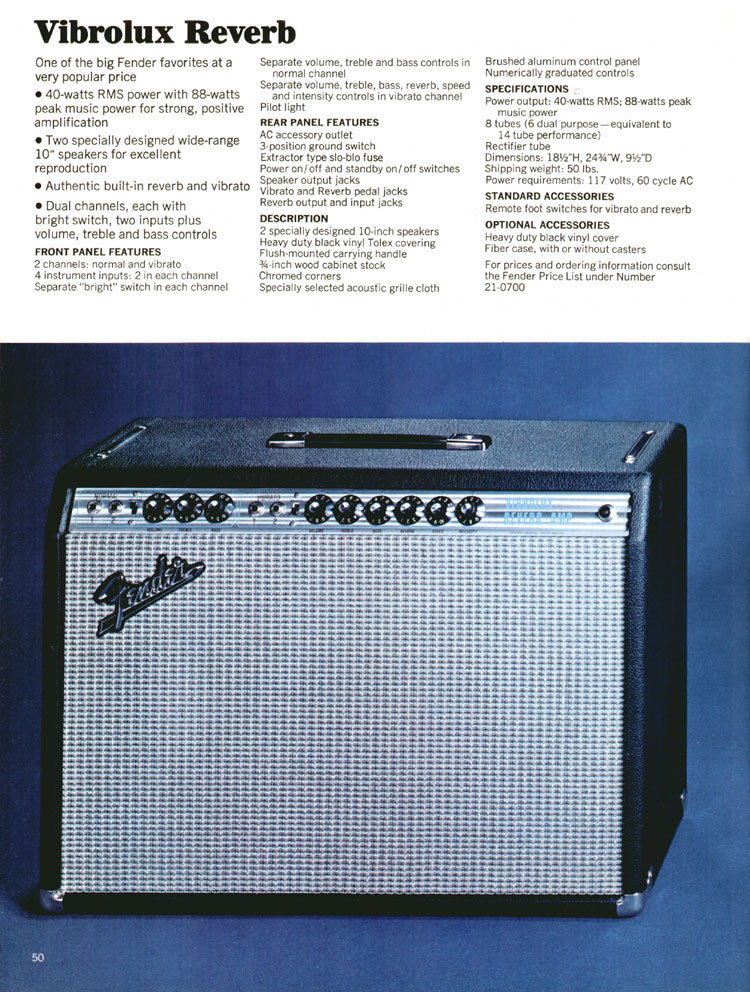Fender Vibrolux Reverb - 1970 Fender catalogue - page 50