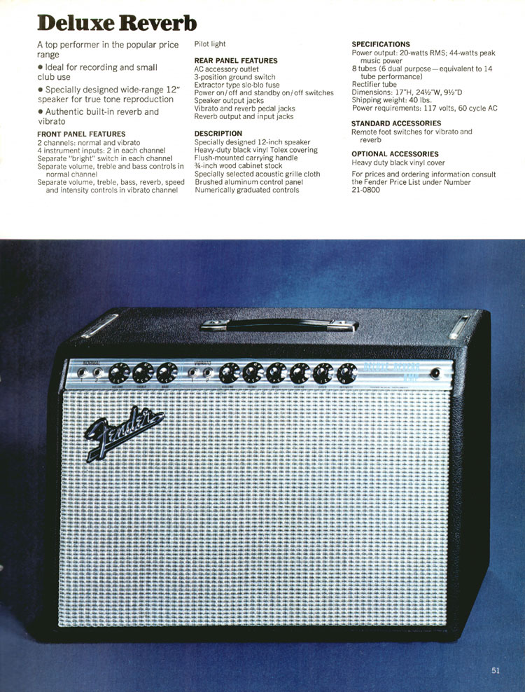 Fender Deluxe Reverb - 1970 Fender catalogue - page 51