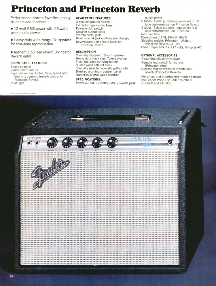 Fender Princeton and Princeton Reverb - 1970 Fender catalogue - page 52