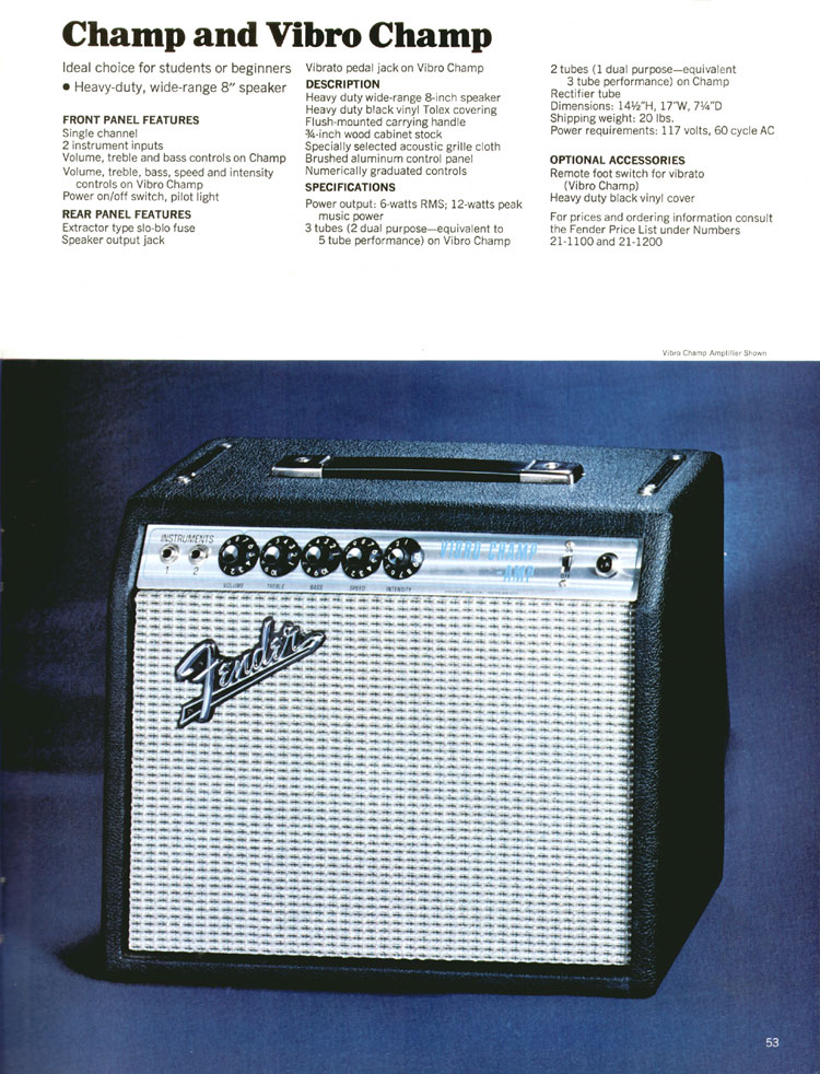 Fender Champ and Vibro Champ - 1970 Fender catalogue - page 53