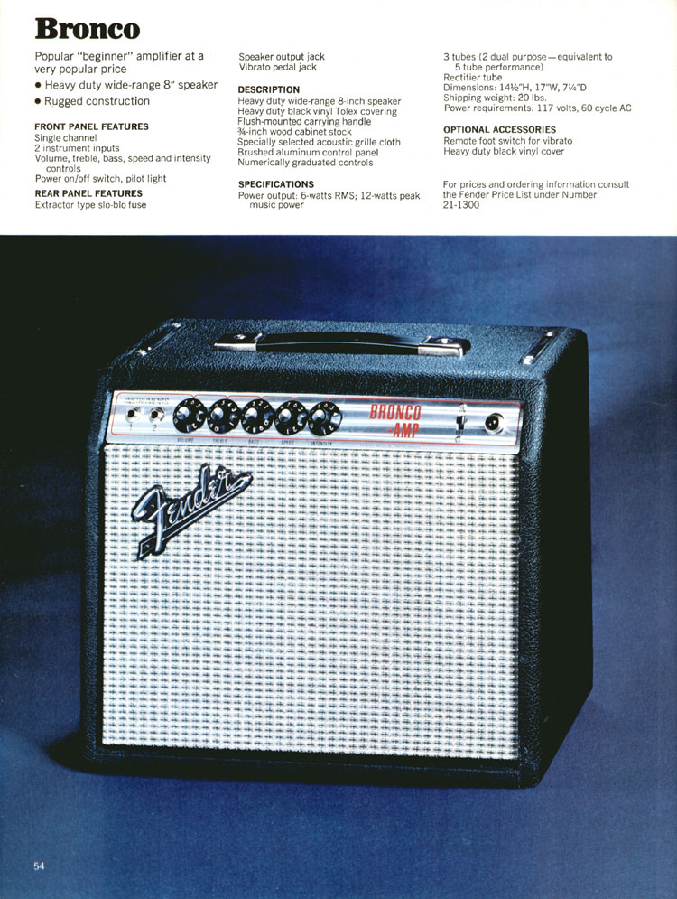 Fender Bronco Amplifier - 1970 Fender catalogue - page 54
