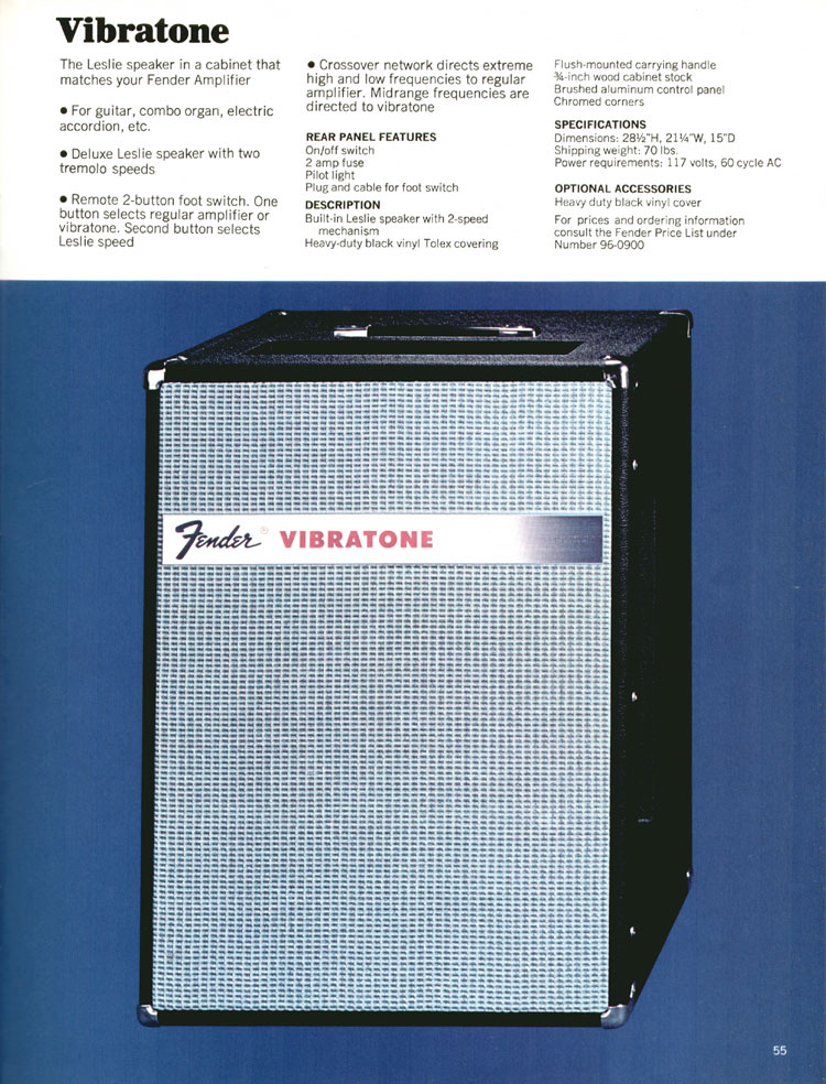 Fender Vibratone - 1970 Fender catalogue - page 55