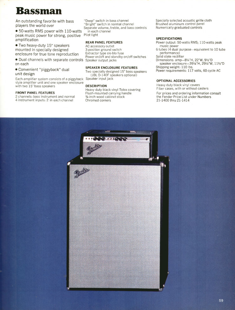 Fender Bassman - 1970 Fender catalogue - page 59