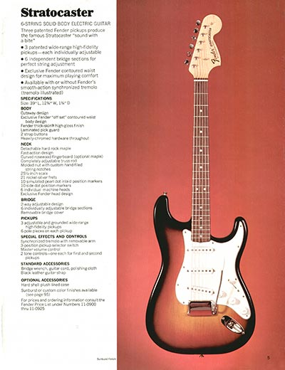 1970 Fender guitar and bass catalogue - page 5