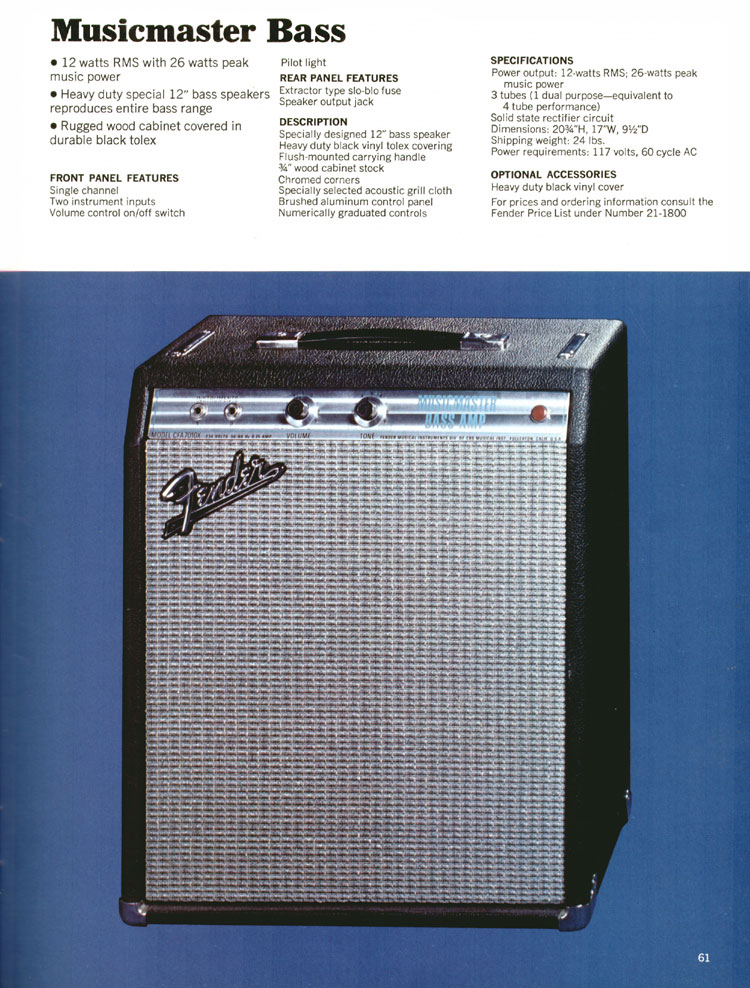 Fender Musicmaster Bass Amp - 1970 Fender catalogue - page 61