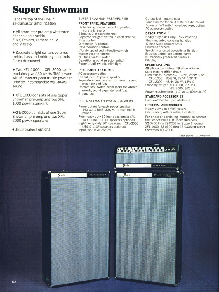 Fender Super Showman - 1970 Fender catalogue - page 62