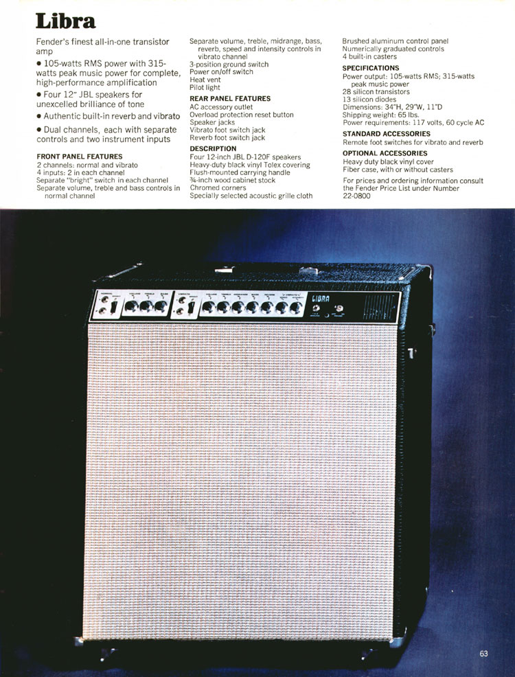 Fender Libra Amplifier - 1970 Fender catalogue - page 63