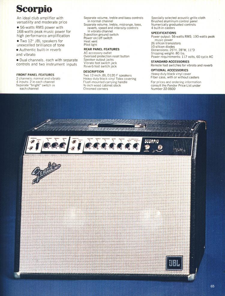 Fender Scorpio amplifier - 1970 Fender catalogue - page 65