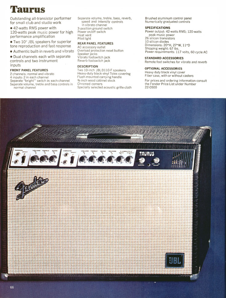 Fender Taurus amplifier - 1970 Fender catalogue - page 66