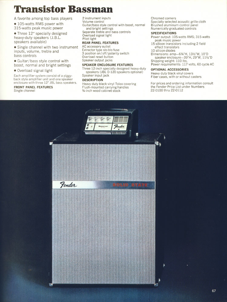Fender Transistor Bassman amplifier - 1970 Fender catalogue - page 67