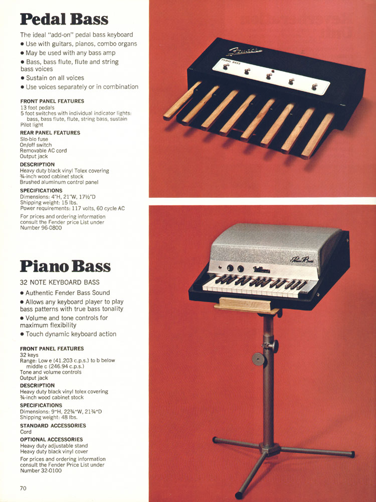 Fender Pedal Bass and Piano Bass - 1970 Fender catalogue - page 70