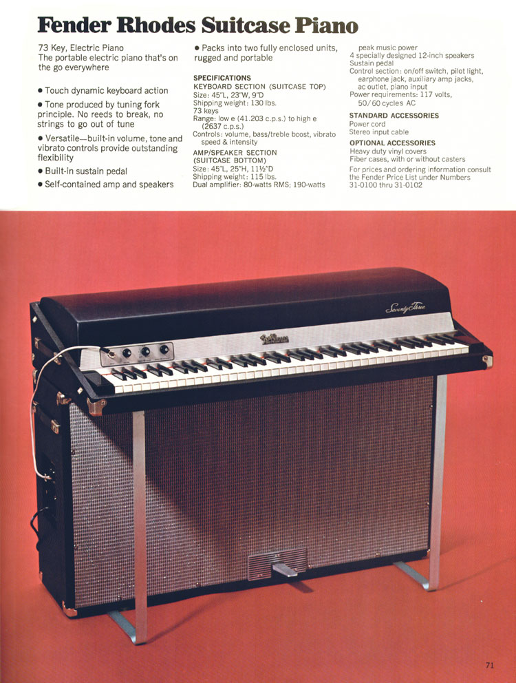 Fender Rhodes Suitcase Piano - 1970 Fender catalogue - page 71