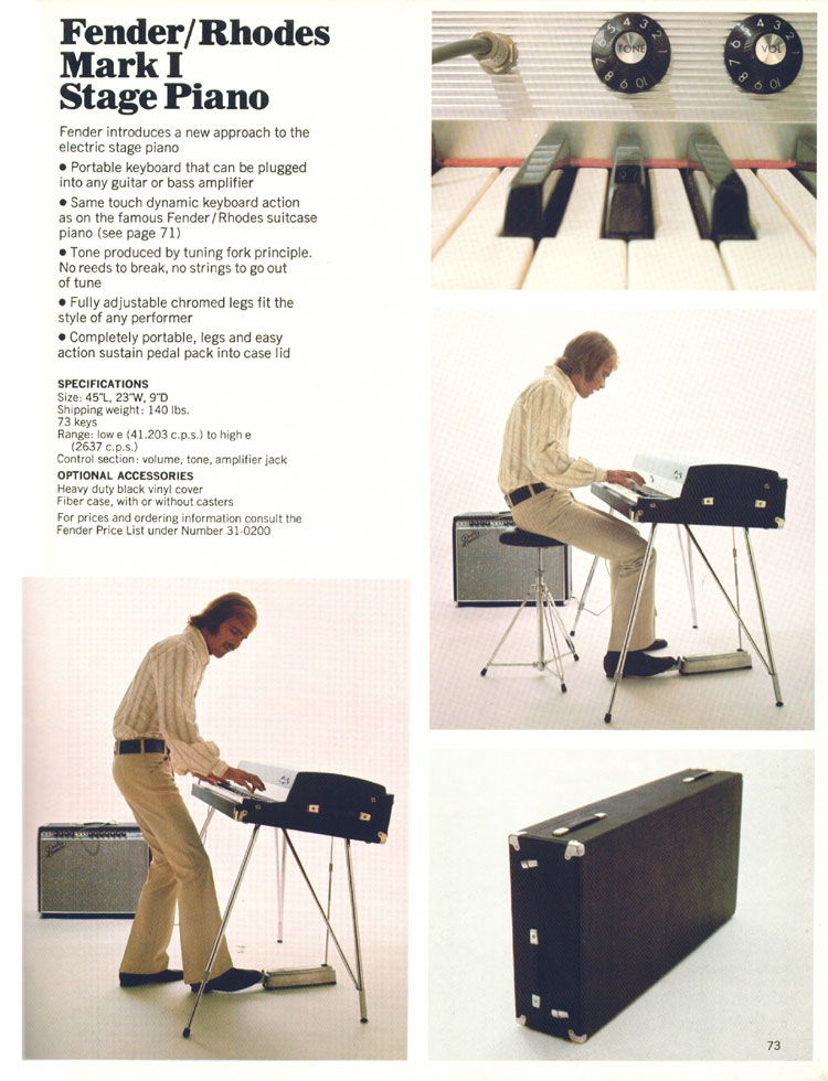 Fender Rhodes MK1 Stage Piano - 1970 Fender catalogue - page 73