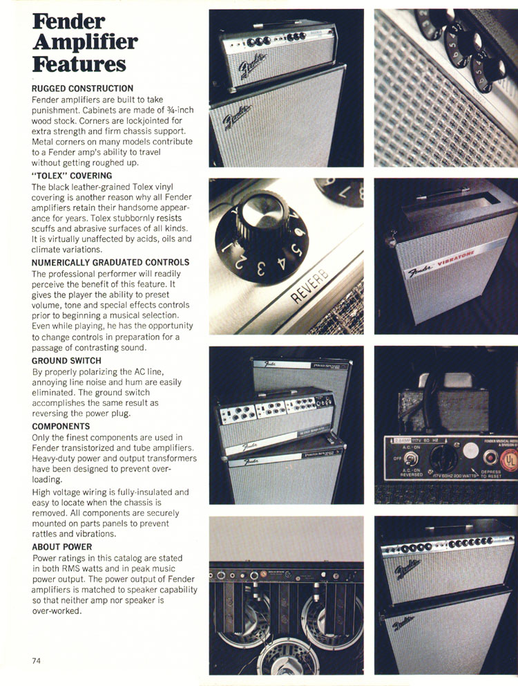 Fender Amplifier Features - 1970 Fender catalogue - page 74