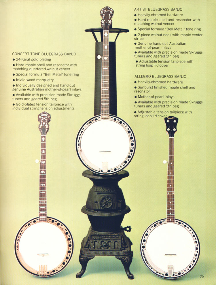 Fender 5-String Bluegrass banjos - 1970 Fender catalogue - page 79