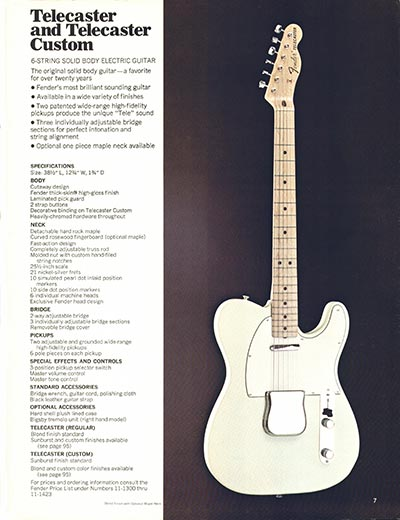 1970 Fender guitar and bass catalogue - page 7