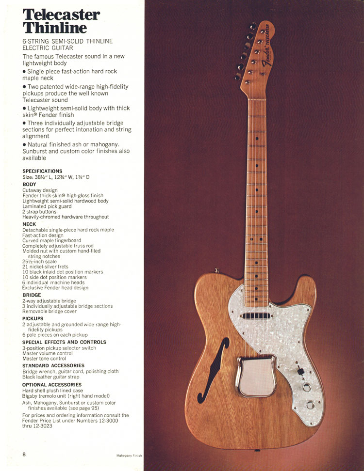 Fender Telecaster Thinline - 1970 Fender catalogue - page 8