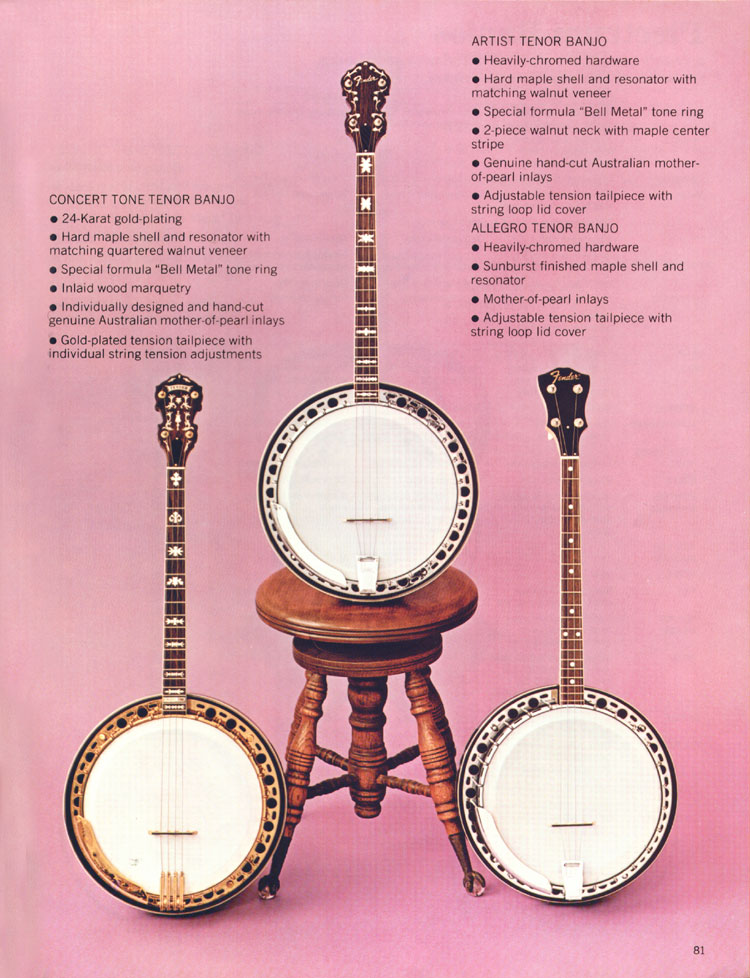 Fender Tenor banjos - 1970 Fender catalogue - page 81