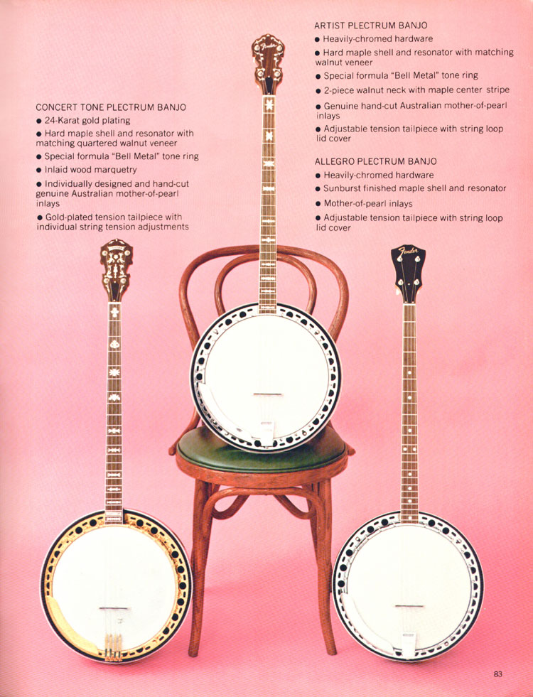Fender Plectrum banjos - 1970 Fender catalogue - page 83