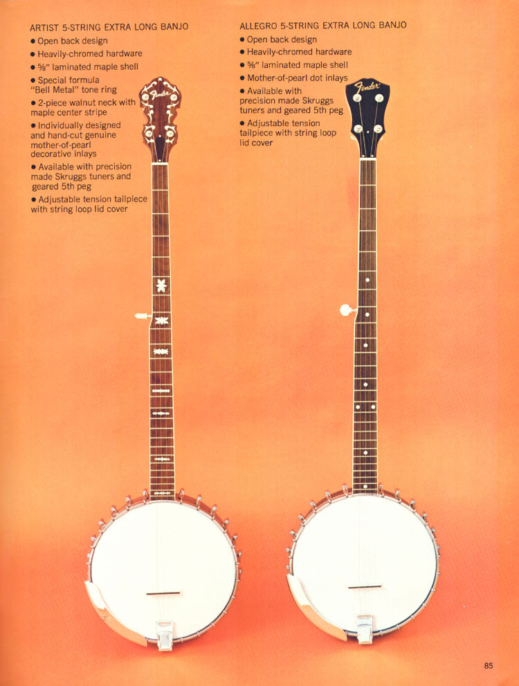 Fender 5-String Extra Long banjos - 1970 Fender catalogue - page 85