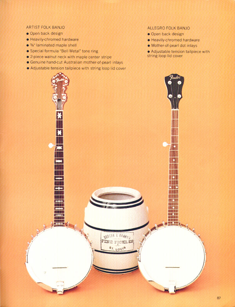 Fender Folk banjos - 1970 Fender catalogue - page 87