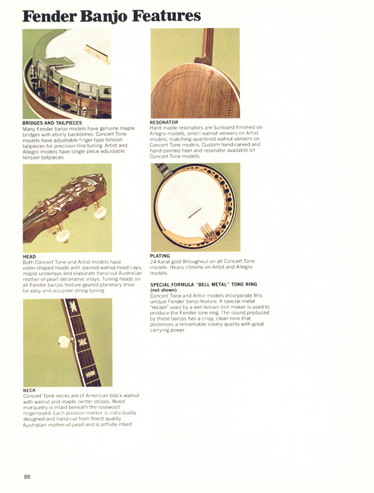 Fender Banjo Features - 1970 Fender catalogue - page 88
