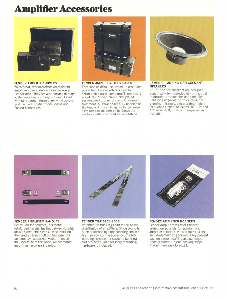 Fender Amplifier Accessories - 1970 Fender catalogue - page 90
