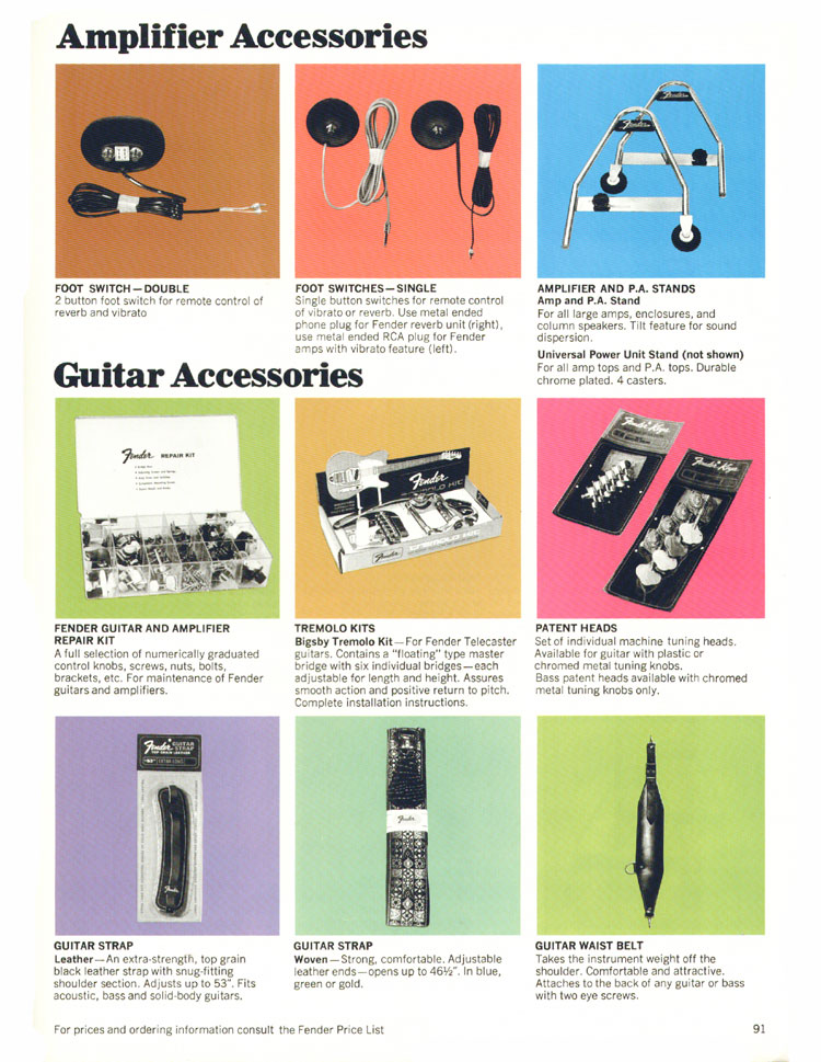 Fender Amplifier/Guitar Accessories - 1970 Fender catalogue - page 91