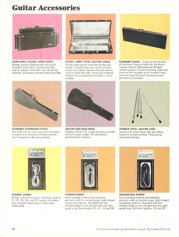 Fender Guitar Accessories - 1970 Fender catalogue - page 92