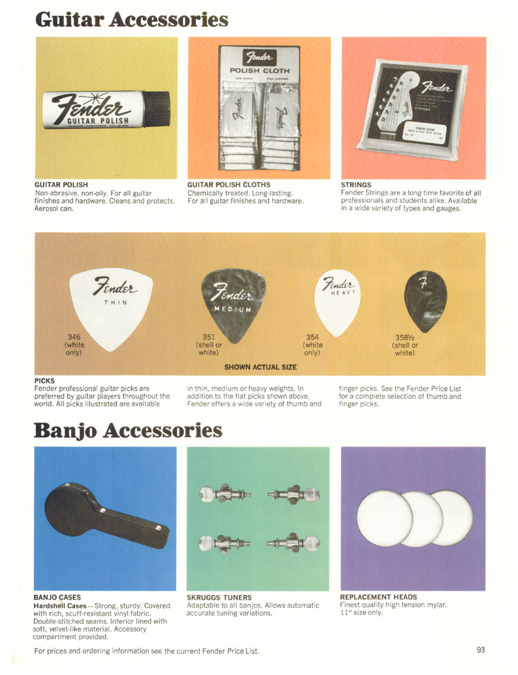 Fender Guitar/Banjo Accessories - 1970 Fender catalogue - page 93