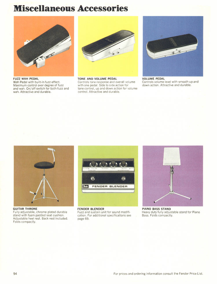 Fender Miscellaneous Accessories - 1970 Fender catalogue - page 94