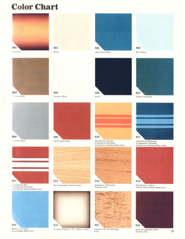 Fender Color Chart - 1970 Fender catalogue - page 95