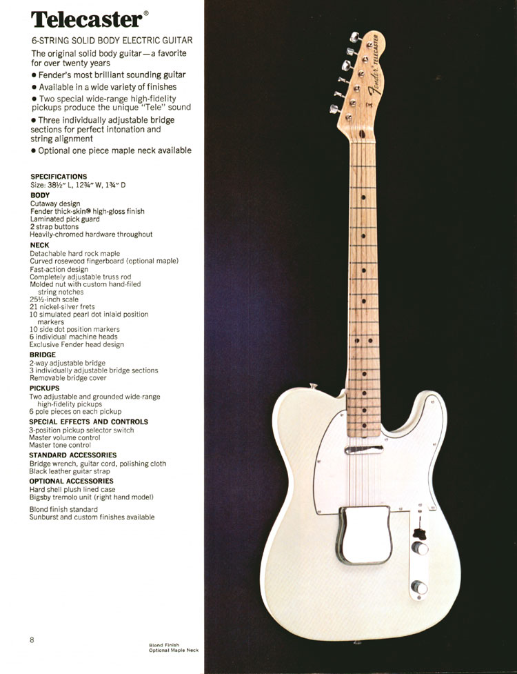 1972 Fender catalogue - page 10 - Fender Telecaster