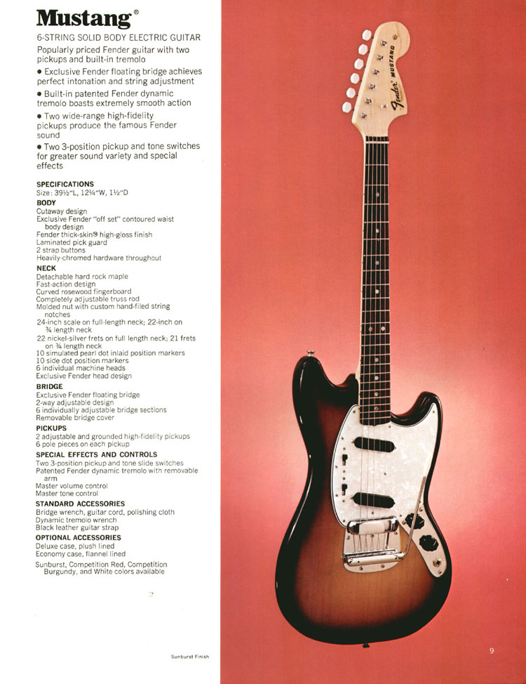 Fender Mustang guitar and amp set - 1972 Fender catalogue - page 11