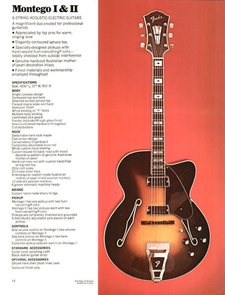 Fender Montego I and II - 1972 Fender catalogue - page 16