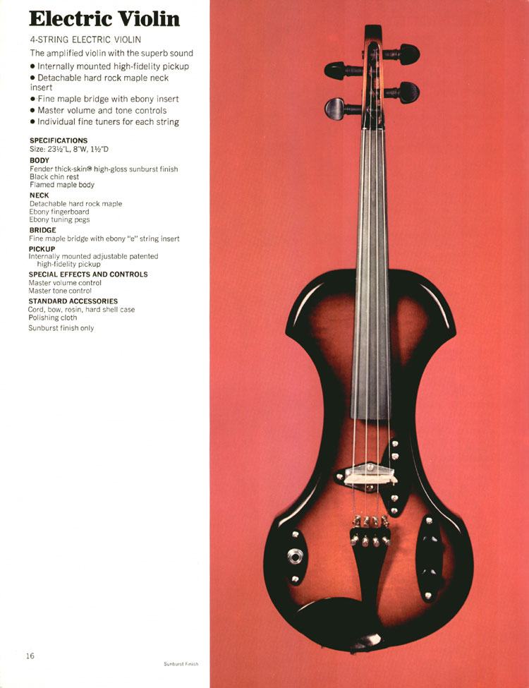 Fender electric violin - 1972 Fender catalogue - page 18