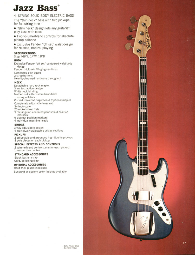Fender Jazz Bass - 1972 Fender catalogue - page 19