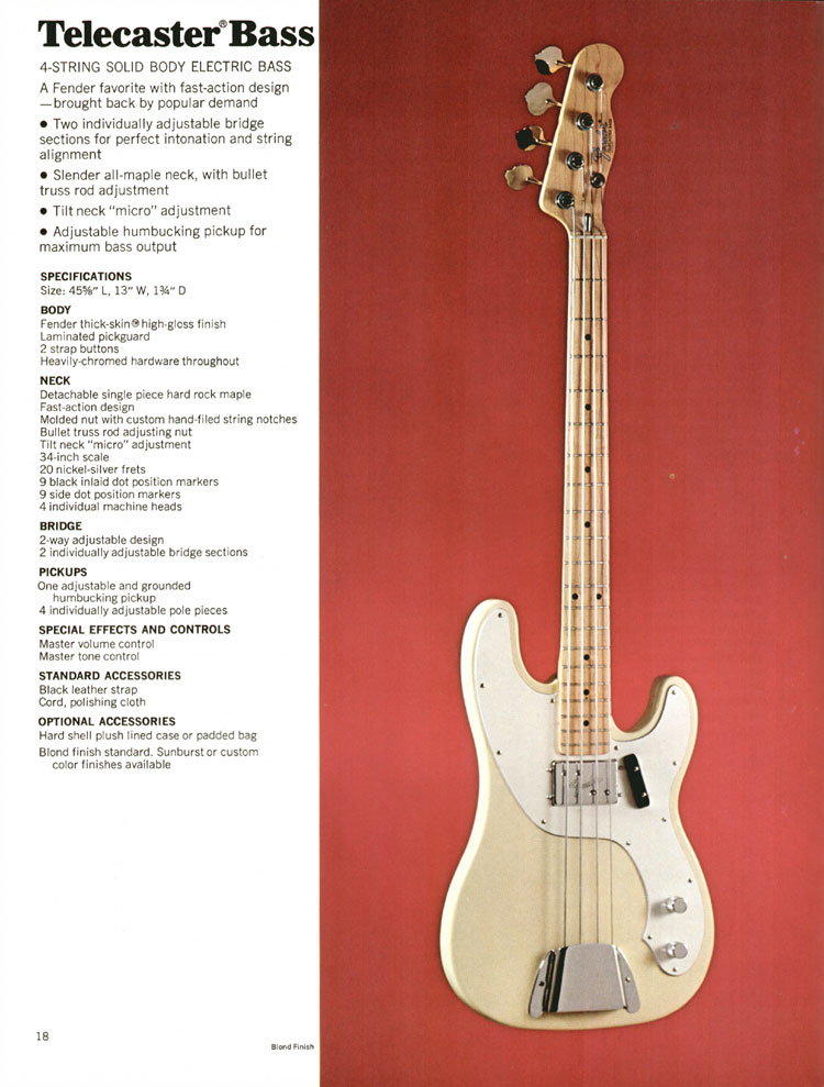 Fender Telecaster Bass - 1972 Fender catalogue - page 20