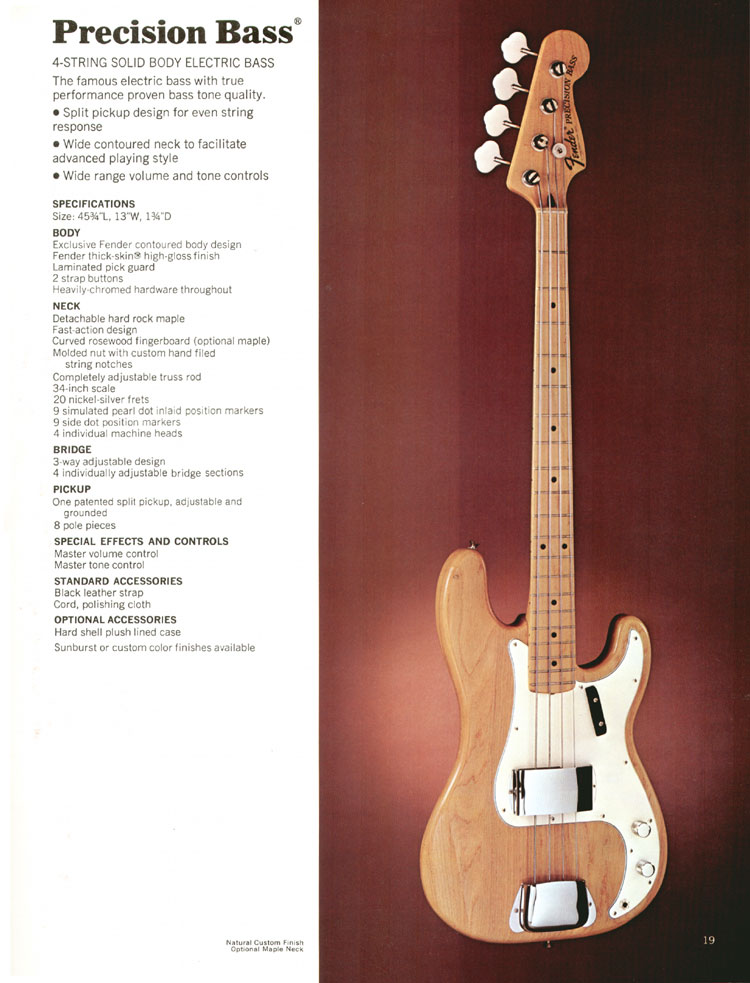 Fender Precision Bass - 1972 Fender catalogue - page 21