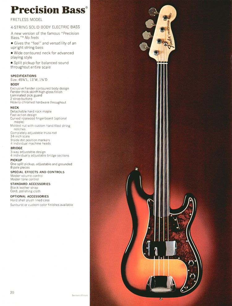 Fender Precision Fretless Bass - 1972 Fender catalogue - page 22
