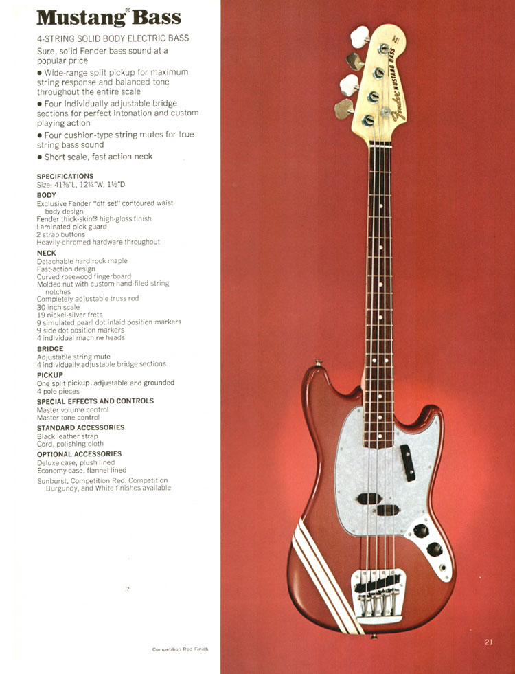 Fender Mustang Bass- 1972 Fender catalogue - page 23