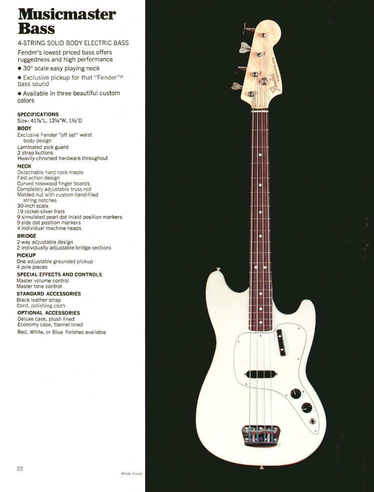 Fender Musicmaster Bass - 1972 Fender catalogue - page 24