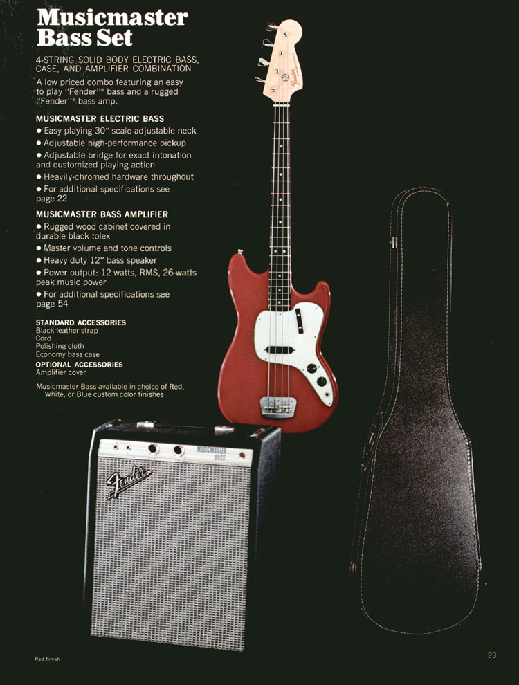 Fender Musicmaster Bass Set - 1972 Fender catalogue - page 25