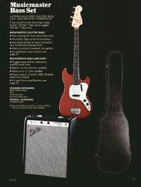 The Musicmaster bass and Musicmaster bass amp, from the 1972 Fender catalogue
