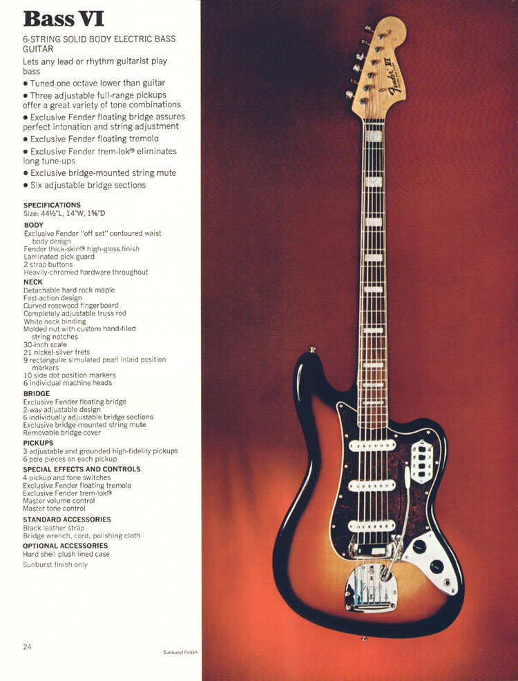 Fender Bass VI - 1972 Fender catalogue - page 26