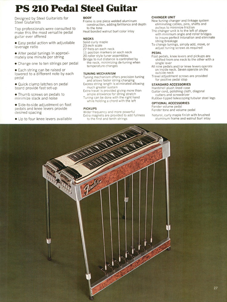 Fender PS210 Pedal Steel Guitar - 1972 Fender catalogue - page 29