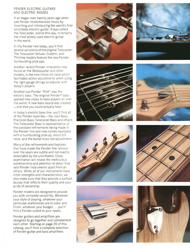 1972 Fender catalogue - page 3 - new features