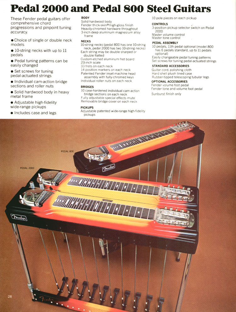Fender Pedal 2000 and Pedal 800 Steel Guitars - 1972 Fender catalogue - page 30