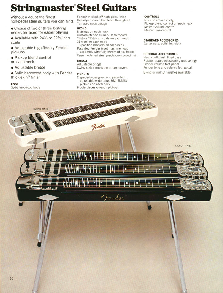 Features of Fender Stringmaster Steel Guitars - 1972 Fender catalogue - page 32