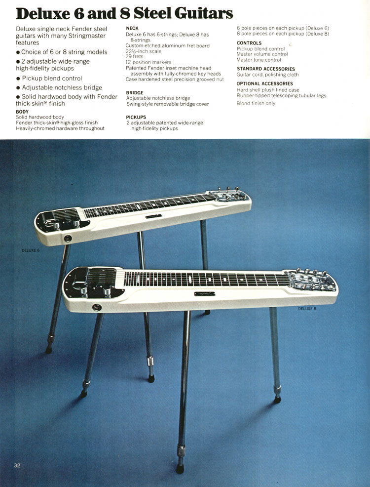 Fender Deluxe 6 and 8 Steel Guitars - 1972 Fender catalogue - page 34